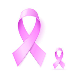 pink ribbon sign realistic pink ribbon breast vector image