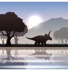 Silhouette dinosaur in landscape vector image