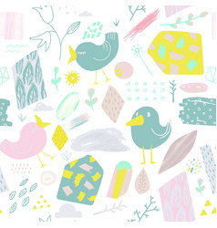 spring seamless pattern with birds and flowers vector image