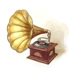 Vintage Gramophone Wtercolor imitation vector image vector image