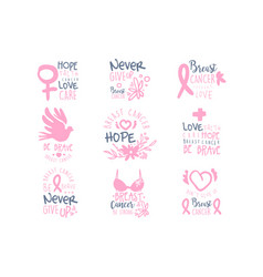 breast cancer fund collection of colorful promo vector image vector image