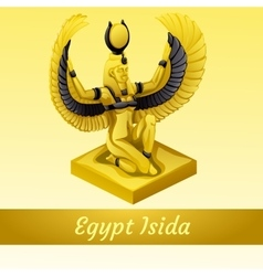 Monument is of the Egyptian Queen Isida in gold vector image vector image