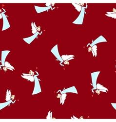 Seamless winter pattern christmas angel vector