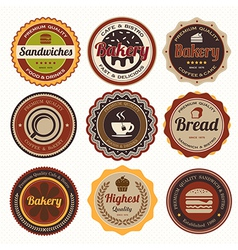 Set of vintage coffee and bakery badges and labels vector image vector image