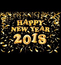 2018 happy new year gold ballon black background vector