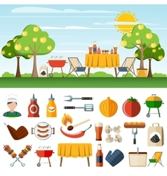 Barbecue picnic icons compostion banners vector image vector image