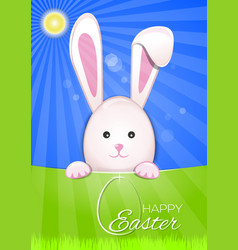 cute easter bunny on a sky blue background easter vector image vector image