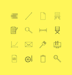 design elements linear icon set simple outline vector image