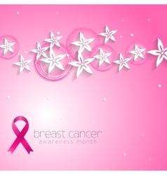 Flowers pink design and breast cancer awareness vector image