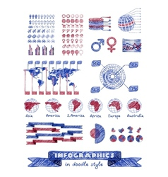 Infographics in doodle style vector image