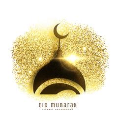 mosque design on golden glitter eid mubarak vector image vector image