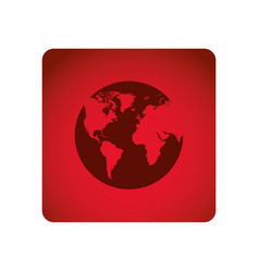 red square frame with map of the world vector image vector image