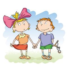 boy and girl vector image