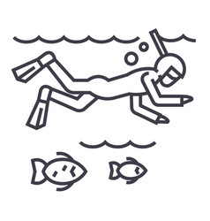 diving in the sea with fishscubasnorkeling vector image vector image
