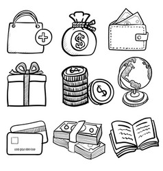 doodle business icon set 1- hand drawn vector image vector image