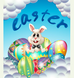 easter card template with bunny and eggs vector image vector image