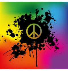 Peace sign on rainbow background vector image vector image