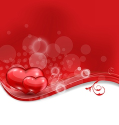 Valentines floral card with beautiful hearts vector image