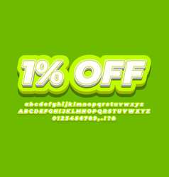 1 percent sale discount promotion 3d light vector