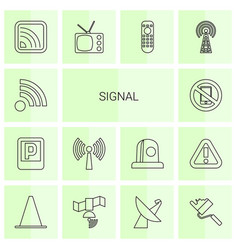 14 signal icons vector image