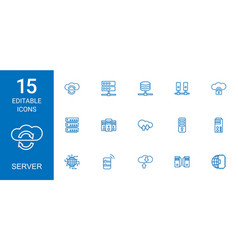 15 server icons vector image