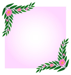 An empty template with pink floral border vector image