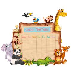 Animal school timetable on white vector