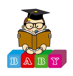 Baby boy with book vector