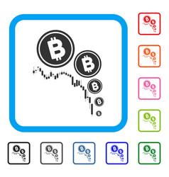 Bitcoin deflation chart framed icon vector
