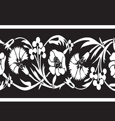 Black and white vintage wildflowers border floral vector