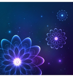 Blue shining cosmic flowers vector image vector image