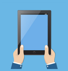 businessman hold tablet with empty blue screen vector image