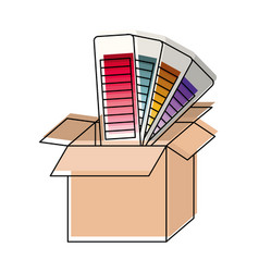 Cardboard box and color palette guide in vector