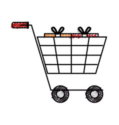 cart shopping with gift isolated icon vector image