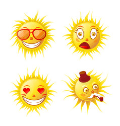 Cartoon cute funny sun emojis isolated vector
