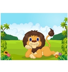 Cartoon lion lie down vector