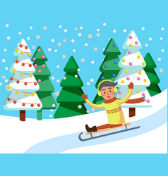 child going downhill on sledges in winter forest vector image