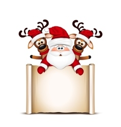 Christmas card Santa Claus and two reindeer vector image