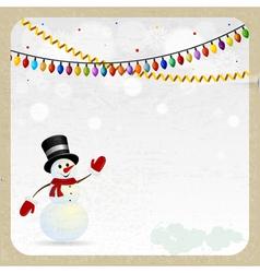 Christmas snowman on a retro background vector