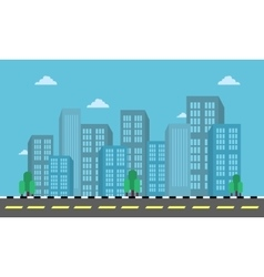 City building and street landscape in flat vector