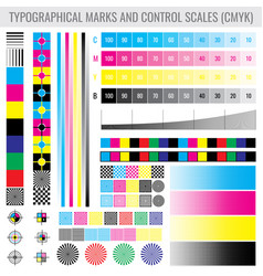 cmyk press print marks and colour tone gradient vector image