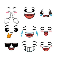 collection of cute emoji cartoon face vector image
