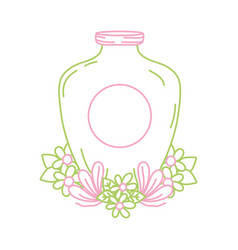 Color line mason jar with sticker and flowers vector
