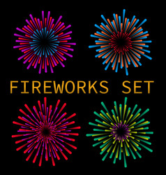 colorful fireworks set vector image