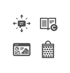 Copyright sms and seo statistics icons shopping vector