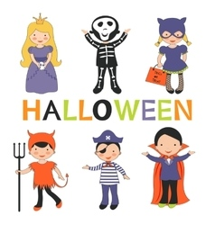Cute colorful halloween kids set vector