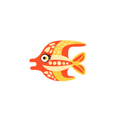 Cute funny colorful fish hand drawn vector