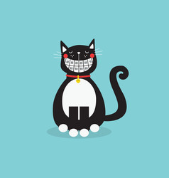 Cute laughing sitting black cat with funny vector