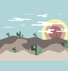 desert landscape at morning flat design vector image
