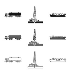 Design of oil and gas logo set of oil and vector